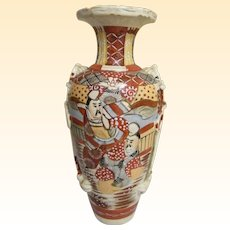 Antique Japanese Satsuma Meiji 19th Century Earthenware Large Vase..Signed