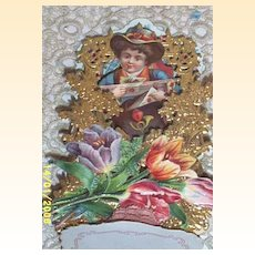 Victorian Paper German Valentine..Boy In Hat With Box Of Roses & Valentine..3-D..Pop-Up..Dye Cut:Embossed