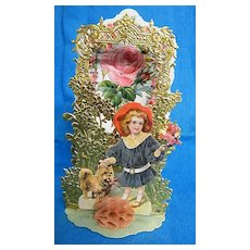 Victorian Friendship Greeting Card..Girl With A Dog & Bouquet..Gray Dress / Red Hat..Pop-Up..Die Cut..Gold Foil Embossed..Germany..New Condition