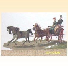 Large...Victorian Paper.. Coach Scene..Die-Cut..Embossed..Germany