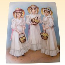 "Very Special Victorian Print From Germany Of 3 Girls With Baskets..Excellent Condition 19.5"" X 16"""