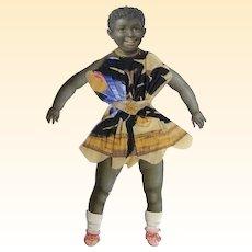 Victorian Paper Puppet..Child..Black Girl..Dress.. Crepe Paper Dress..Germany