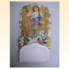 Victorian Pop-Up Card..Angel Blue Sash..Embossed Gold Foil..Germany..NOS