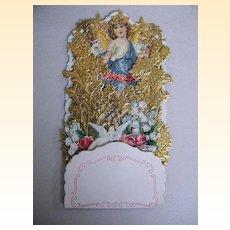 Victorian Pop-Up Card..Angel Blue Sash..Embossed Gold Foil..Germany..NOS