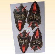 Krampus..The German Horrific Christmas Devil..1880's Die Cut..New Stock Condition..Set Of 4