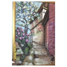 Vintage.. Signed..EP.. Oil Painting Of A White Stucco European House With A Blossoming Tree..Flowers..And Many Steps To Climb..Excellent Condition