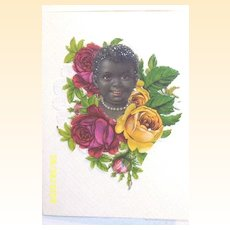 Black Victorian Baby Face...Die-Cut Embossed Scraps..Greeting Card..Antique..Germany