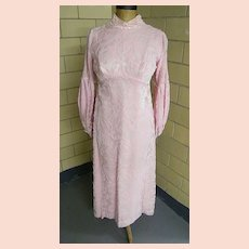 1960's Victorian Style Sheer Pink Sculpted Velvet Long Dress / Gown... Tailored Made For Wedding Or Formal...Excellent Condition
