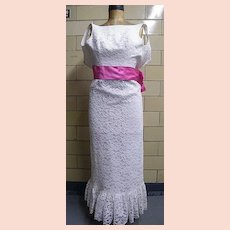 SNOW WHITE Re-embroidered  Sleeveless Lace Sheath Wedding Gown or Formal Gown With Pink Satin Cummerbund