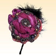 Bridesmaid Flower Headpiece...Draped Silk In  Solid Wine  With Accent Prints..