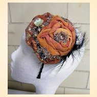 Bridesmaid Headpiece ..Draped Silk Flower In Solid Colors & Prints With Bead & Feather Trim..Burnt Orange
