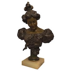 Ethereal Art Nouveau Bronze Bust of a Young Woman