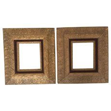 Elegant Matched Pair of Gilt Gesso & Velvet Wood Frames