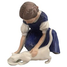 """Girl with Cat Danish Porcelain Figurine by Bing & Grondahl, Titled, """"Only One Drop"""""""