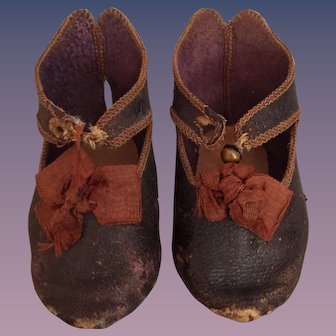 Antique Jumeau Bee Symbol French Leather Doll Shoes Size 10