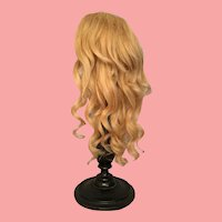 Wheat Blonde Layered Antique Human Hair Doll Wig for French or German Bisque with 11 to 11.5 inch HC