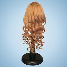 """Pretty Vintage French Human Hair Blonde Doll Wig with Long Curls and Bangs for French or German Bisque 9-10""""HC"""