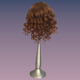 """Rich Brown Antique Human Hair Doll Wig for Antique Bisque with 9.5-10.5"""" HC"""