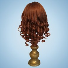 """Rich Auburn Vintage French Human Hair Doll Wig for Antique Bisque with 7.75""""- 8.5"""" HC"""