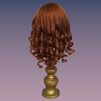 "Rich Auburn Vintage French Human Hair Doll Wig for Antique Bisque with 7.75""- 8.5"" HC"