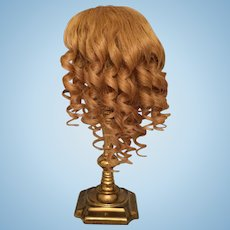 "Antique Blonde Human Hair Doll Wig for French or German Bisque with 9-10.25"" HC"