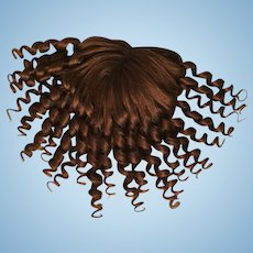 """Abundant Antique Human Hair Doll Wig for French or German Bisque with 8.25-9.75"""" HC"""