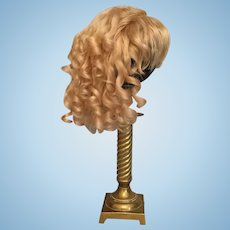 """Large Wonderful Blonde Antique Mohair Doll Wig for French or German Bisque with 12.5 - 14.25"""" HC"""