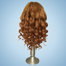 """Antique Light Caramel Brown Human Hair Doll Wig for Antique Bisque with 10.5-12.25"""" HC"""