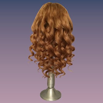 "Antique Light Caramel Brown Human Hair Doll Wig for Antique Bisque with 10.5-12.25"" HC"