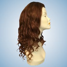 "Colossal Long Auburn Antique Human Hair Wig for Large Doll or Child Mannequin with 18""-20"" Head Circumference"