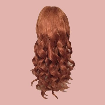 Beauteous Rich Auburn Vintage Human Hair Doll Wig for French or German Bisque with 13.5-15 Inch HC