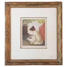 """Color Etching """"In the Bedroom"""" by Manuel Robbe (French, 1872-1936)"""