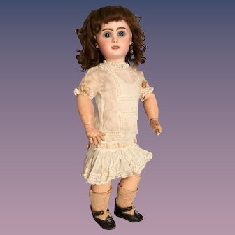 """19"""" Tete Jumeau Size 8 with Open Mouth, Cheery Expression, Original Chemise & Shoes"""