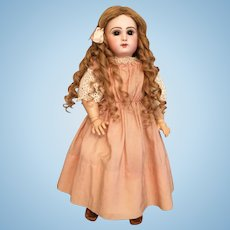 "Ravishing 18.5"" Bebe Jumeau French Bisque Doll w/ Closed Mouth & Rapunzel Blonde Hair"