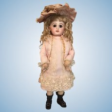 Unforgettable 13 Inch Bebe Jumeau French Bisque Doll with Beguiling Brown Eyes