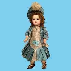 Dramatic Tete Jumeau Closed Mouth French Bisque Bebe in Charming 16.5 Inch Size with Original Shoes