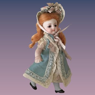 Enchanting 5 inch Simon and Halbig All-Bisque Mignonette with High Blue Stockings for the French Trade