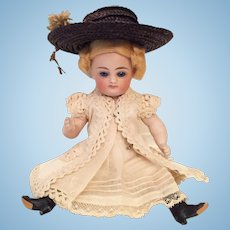 """Irresistible 6"""" Early Kestner Swivel Head Pouty All-Bisque Doll with 4-Strap Black Boots"""