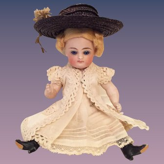 "Irresistible 6"" Early Kestner Swivel Head Pouty All-Bisque Doll with 4-Strap Black Boots"