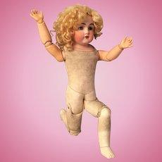 """Best 20"""" Kestner 154 German Bisque Shoulder Head Doll with Original Floofy Wig & Long Eyelashes"""