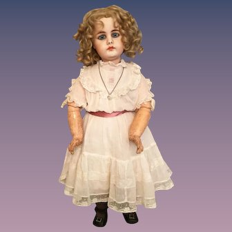 "Stunning 19"" Simon & Halbig Closed Mouth 949 Bisque Character Child"