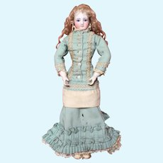 Breathtaking 15 Inch Simon and Halbig French Type Fashion Lady with Kid Over Wood Articulated Body and Original Costume