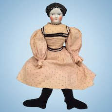 "21"" Flat Top China Head Lady with Wonderful Original Body and Dress"