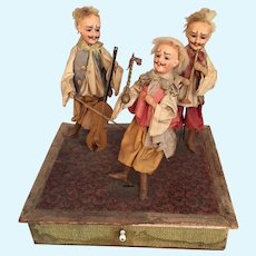 Brilliant Zinner and Sohne Musical Handwind Vignette Band Mechanical Toy with German Bisque Characters