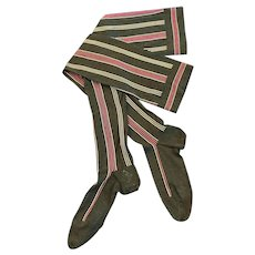 Fabulous Antique Black Ladies Stockings with Woven Pin Stripes
