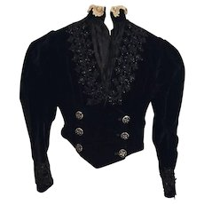 Spectacular Ladies Black Velvet Jet Beaded Victorian Bodice