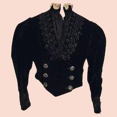 Spectacular Ladies Black Velvet Jet Beaded Victorian Bodice