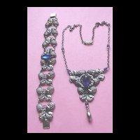 Gorgeous  Faux Sapphire Lavalier and Bracelet