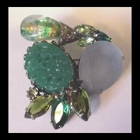 Outrageous Vintage Rhinestone Pin in Green