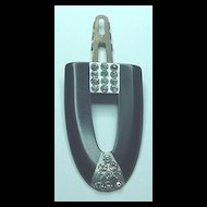 Vintage Black Celluloid and Rhinestone Art Deco Clip